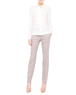 Akris Ruffle-Front Silk Crepe Blouse and Melvin Fine Tweed Slim Pants