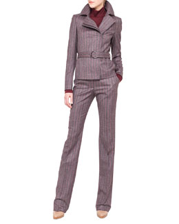 Akris Wool Flannel Pinstripe Moto Jacket and Pants & Cashmere-Silk Jersey Turtleneck