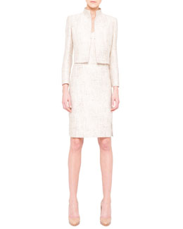 Akris Shimmery Jacquard Short Jacket and Pleat-Detail Dress