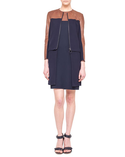 Akris punto Detachable-Bottom Combo Coat and Sleeveless Leather-Yoke Shift Dress