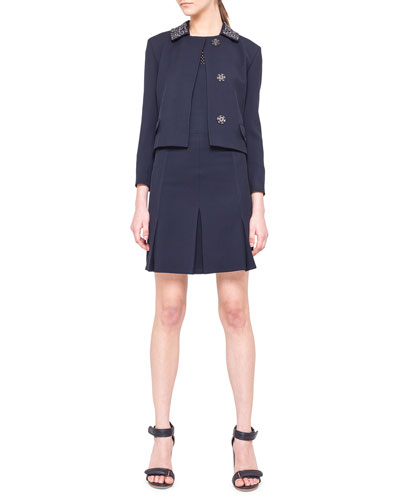 Akris punto Embellished-Collar Snap Jacket, Embroidered-Yoke Shell & Inverted-Pleat Twill Skirt
