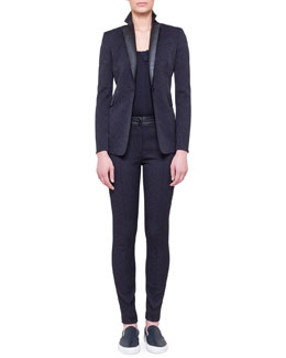 Akris punto Single-Button Tech Jacquard Jacket, Chiffon Petal Tank & Tech Jacquard Flat-Front Trousers