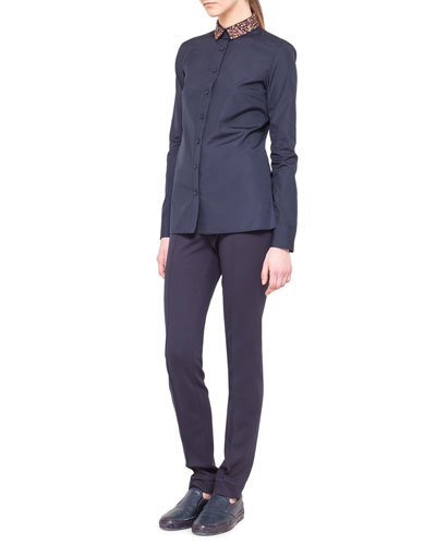 Akris punto Embellished Detachable-Collar Shirt and Fabia Flat-Front Jersey Pants