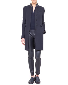 Akris punto Embellished-Collar Button Coat, Zip-Front Jersey Top & Leather and Jersey Leggings