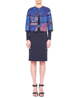 Akris punto Reversible Printed Perforated Jacket, Zip-Front Top & Waist-Trim Pencil Skirt