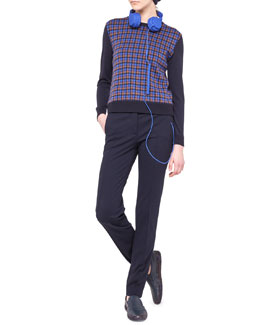 Akris punto Check-Front Wool Sweater & Flat-Front Jersey Pants
