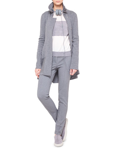 Akris punto Melange Knit Drawstring Parka, Colorblock Knit Sweater & Flat-Front Jersey Pants