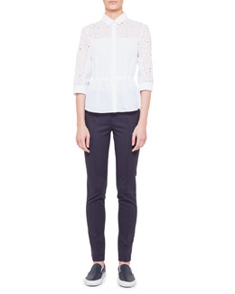 Akris punto Circle-Embroidered Drawstring Blouse and Flat-Front Jersey Pants
