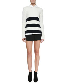 Vince Striped Ribbed Knit Long Sweater, Sheer-Stripe Sleeveless Silk Blouse & Drop-Yoke Boxer Shorts