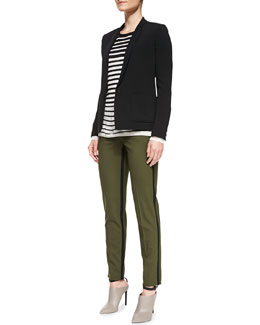 Vince One-Button Silk Inlay Blazer, Striped Crewneck Sweater & Strapping Trousers