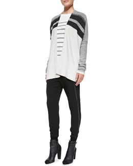 Vince Knit Variegated Oversized Cardigan, Jersey Striped Long-Sleeve Top & Satin-Piped Wrapped-Seam Pants