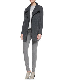 Vince Ribbed Layout Drape Cardigan with Leather Trim, Abstract Patchwork Boat-Neck Sweater & Side-Stripe Skinny Jeans