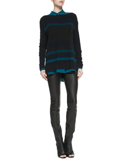 Vince Boat-Neck Striped Knit Sweater, Long-Sleeve Placket-Front Blouse & Zip-Pocket Leather Leggings