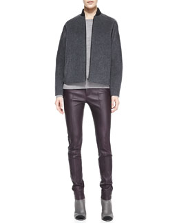 Vince Fleece Bomber Jacket, Textured Jacquard Knit Sweatshirt & Zip-Detail Leather Leggings