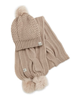 Ugg Australia Nyla Cable Knit Scarf and Beanie with Shearling Pompoms
