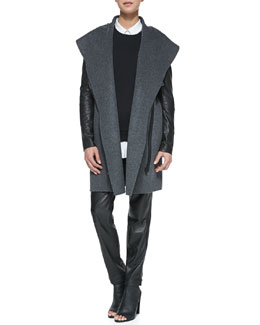 Vince Leather-Sleeve Shawl-Collar Coat, Quilted-Patch Knit Sweatshirt, Classic Long-Sleeve Silk Blouse & Leather Strapping Trousers