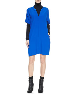 Vince Jersey V-Neck Dress & Slim Ribbed Knit Turtleneck
