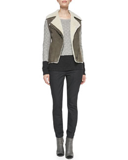 Vince Asymmetric Shearling Vest, Colorblock Cable Sweater & Twill Relaxed Cropped Pants
