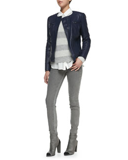 Vince Quilted-Sleeve Leather Moto Jacket, Striped Ribbed-Knit Sweater & Skinny Jeans