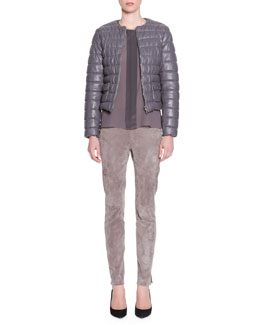 Piazza Sempione Lambskin Leather Puffer Jacket, Long-Sleeve Center-Placket Silk Tunic & Lambskin Suede Leggings