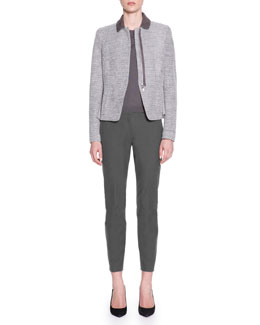 Piazza Sempione Suede-Trim Drawstring Zip Jacket, Wool Silk Tee & Kim Sateen Ankle Pants
