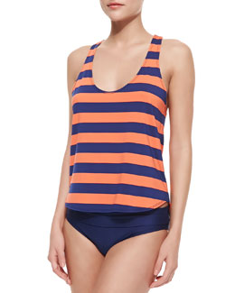 Splendid Marcel Double Dip V-Neck Swim Tank & Fold-Over Low-Rise Swim Bottom