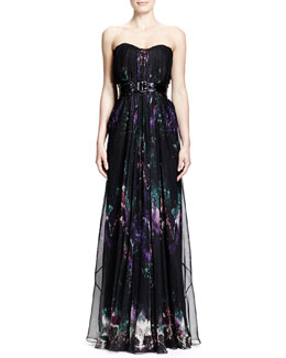 Alexander McQueen Feather-Print Strapless Chiffon Gown & Wide Patent Leather Belt