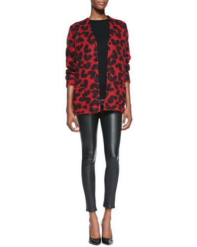Saint Laurent Long-Sleeve Heart Mohair-Blend Cardigan & Lambskin Leather Leggings