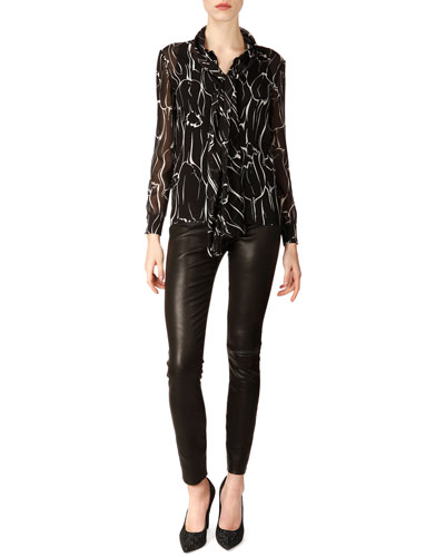 Saint Laurent Long-Sleeve Marbled Silk Georgette Blouse & Lambskin Leather Leggings