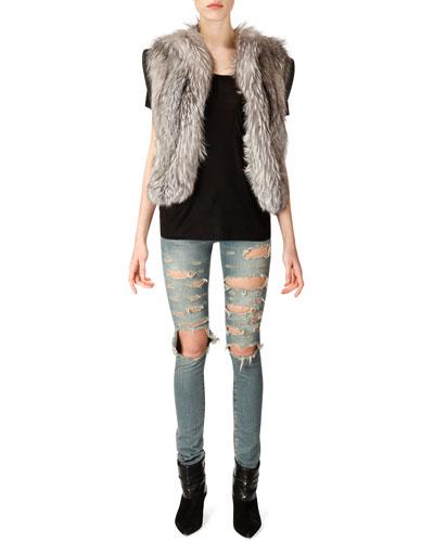 Saint Laurent Fox Fur Vest, Short-Sleeve Silk Jersey Pocket T-Shirt & Distressed Skinny 5-Pocket Jeans