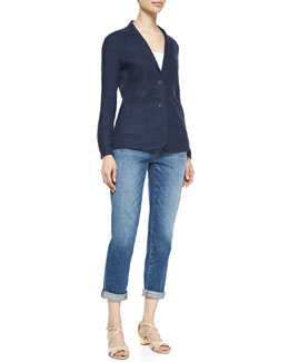 Eileen Fisher Handkerchief Linen 2-Button Jacket & Stretch Boyfriend Jeans