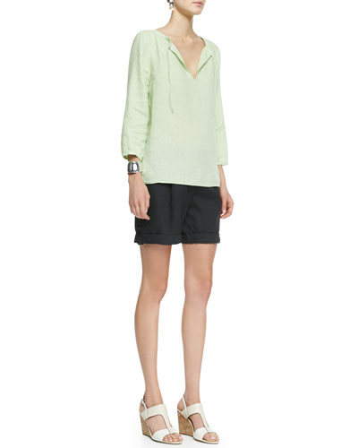 Eileen Fisher 3/4-Sleeve Lightweight Linen Top & Organic Linen City Shorts