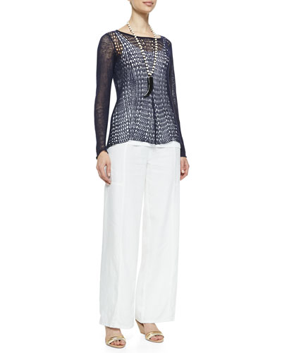 Eileen Fisher Organic Linen Wavy-Stitch Top & Wide-Leg Pants