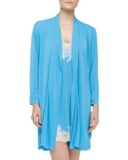 Natori Enchant Lace Trimmed Chemise & Slinky Knit Short Robe, Maritime Blue