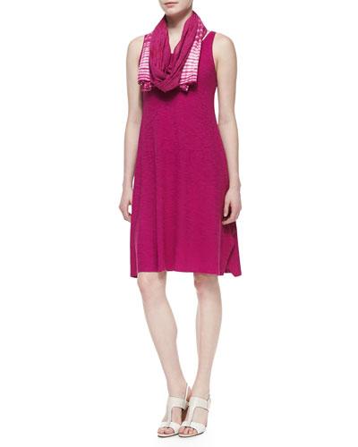 Eileen Fisher Organic Cotton Hemp Twist Sleeveless Dress & Color-Tipped Tassel Scarf, Petite