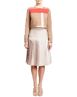 Givenchy Long-Sleeve Red-Banded Cardigan Jacket, Sleeveless Fine-Rib Cashmere-Silk Sweater Tank & Stitch-Down-Pleated Skirt