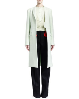 Givenchy Band-Detail Long Coat, Collarless Silk Charmeuse Blouse, Long-Sleeve Deep-V Silk Chiffon Top & Red-Banded Pleated Wool Pants