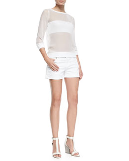 AG Adriano Goldschmied Tequila Sunrise Sheer/Solid Top & Hailey Roll-Up Shorts