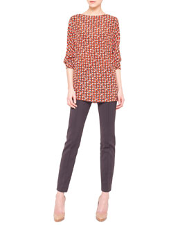 Akris Sheriff-Print Silk Crepe Tunic and Melissa Techno Stretch Slim Pants