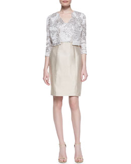 Kay Unger New York 3/4-Sleeve Sequined Bolero Jacket & Cap-Sleeve Sequined Bodice Cocktail Dress