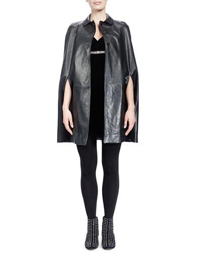 Saint Laurent Collared Leather Cape & Velvet V-Neck Crystal-Empire-Waist Dress