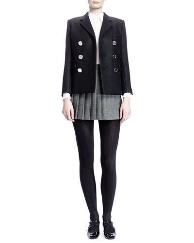 Saint Laurent Double-Breasted 6-Button Coat, Collared Silk Georgette Blouse & Pleated Wool Miniskirt