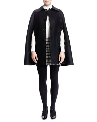 Saint Laurent Collared Double-Face Wool Cape, Silk Georgette Blouse & Mini Houndstooth Plaid Skirt