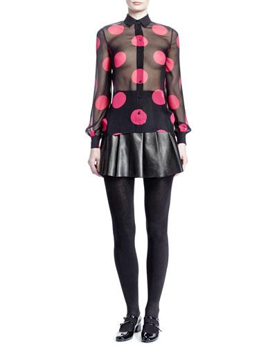 Saint Laurent Large Dot Georgette Shirt & Pleated Leather Miniskirt