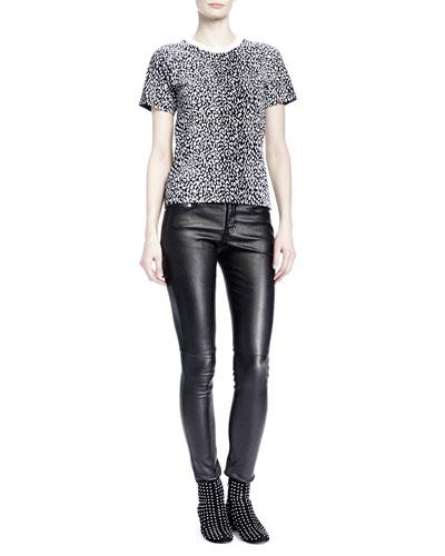 Saint Laurent Short-Sleeve Mini Leopard-Print Tee & Leather Skinny Pants
