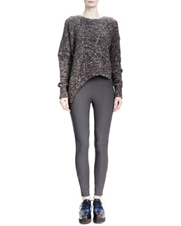 Stella McCartney Long-Sleeve Asymmetric-Hem Chunky Sweater & Heather Cotton Stretch Leggings