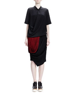 Stella McCartney Compact Tech Taffeta Anorak, Short-Sleeve Crepe de Chine Silk Top & Draped Crepe Skirt with Folded Bottom