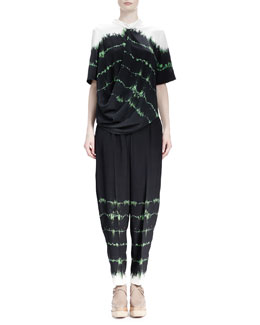 Stella McCartney Tie-Tie Silk Top & Relaxed-Leg Tie-Dye Pants