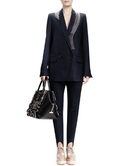 Stella McCartney Double-Breasted Zip-Swirl Jacket & Relaxed Narrow-Leg Stirrup Pants