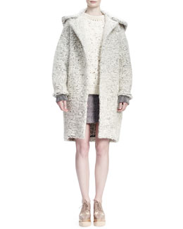 Stella McCartney Soft Wooly Boucle Caban Coat, Long-Sleeve Crochet-Embroidered Sweater & Corded Rope-Applique Tweed Skirt